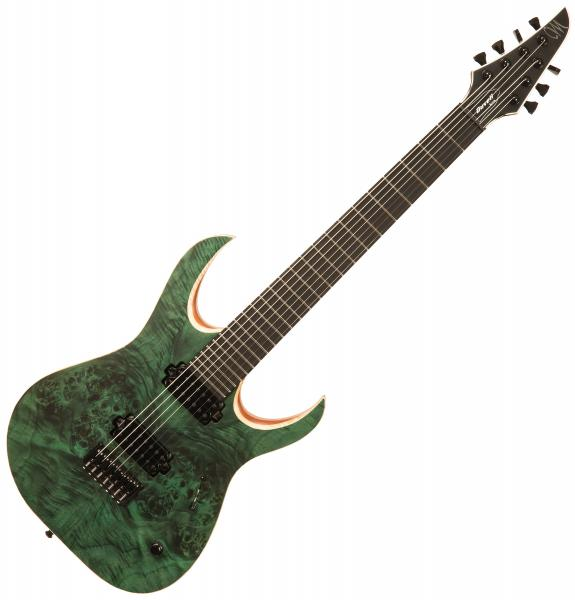 Guitare électrique solid body Mayones guitars Duvell Elite 7 (TKO) - Dirty green satin