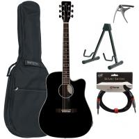 Pack guitare folk Eastone DR100CE-BLK +X-Tone Bag Pack - Black