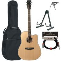 Pack guitare folk Eastone DR100CE-NAT +X-Tone Bag Pack - Natural satin