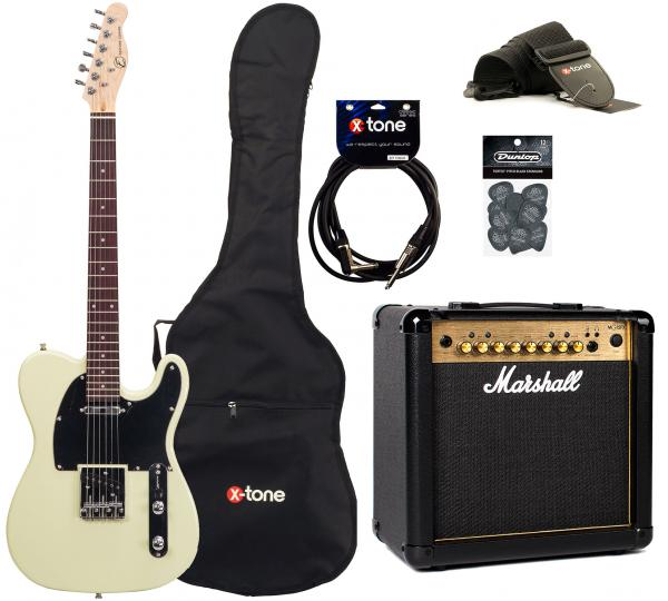 Pack guitare électrique Eastone TL70 +Marshall MG15FX +Accessoires - Ivory