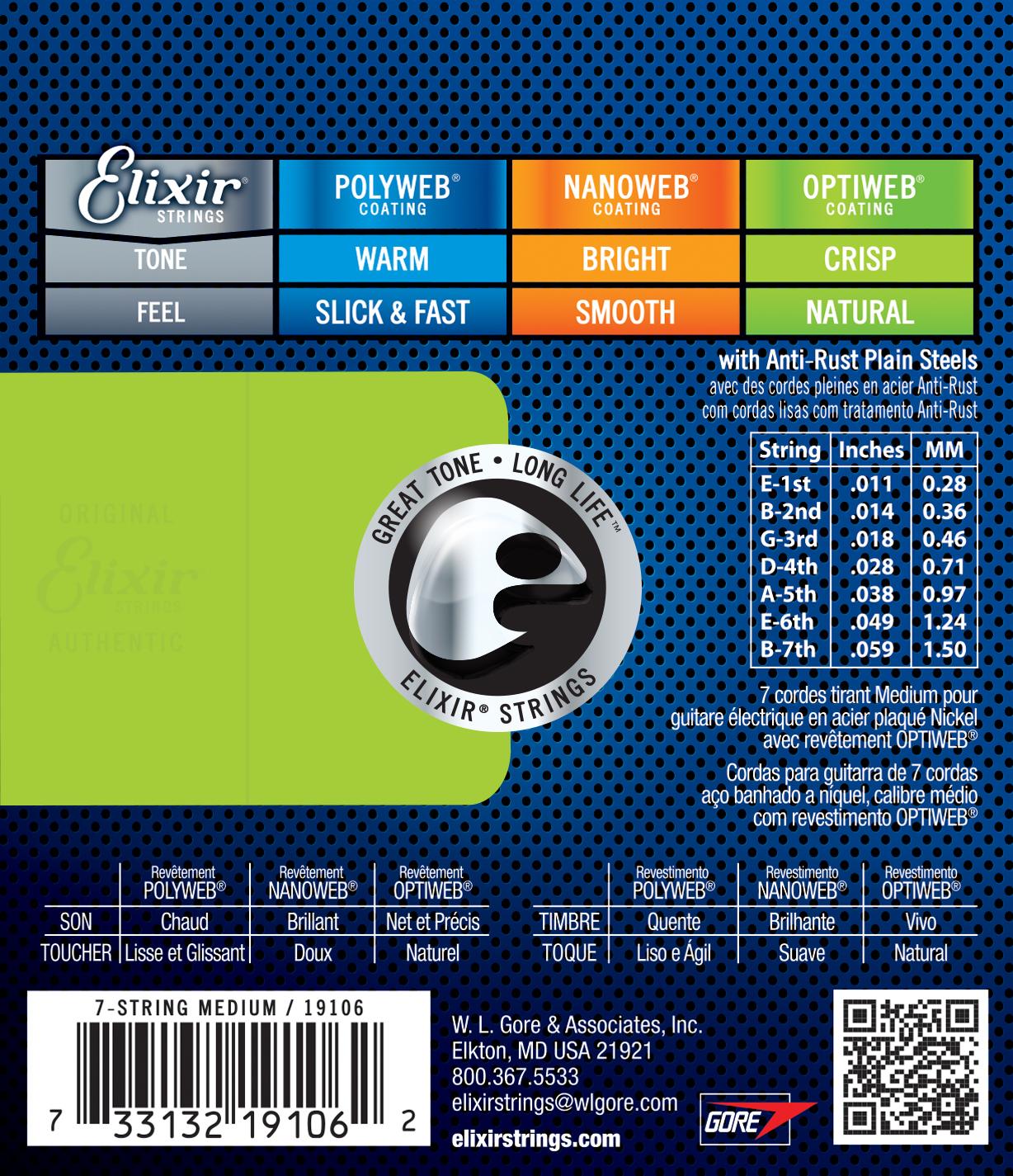 Elixir Medium /7c - jeu de cordes Cordes guitare électrique