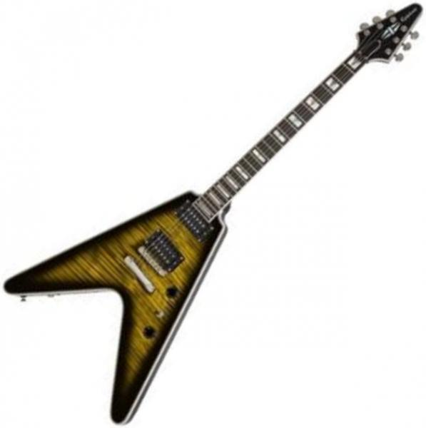 Guitare électrique solid body Epiphone Modern Prophecy Flying V - Yellow tiger aged