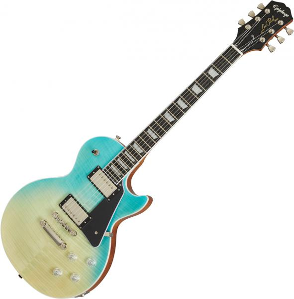 Guitare électrique solid body Epiphone Les Paul Modern Figured - Caribbean blue fade
