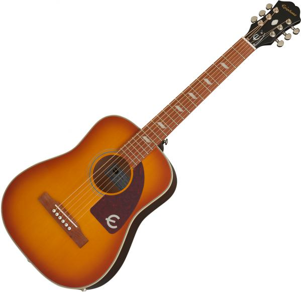 Guitare acoustique voyage Epiphone Lil' Tex Travel Outfit +Bag - Faded cherry