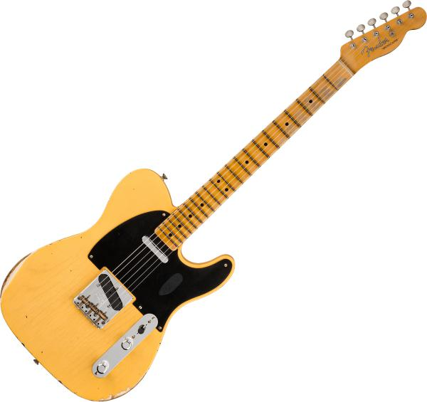 Guitare électrique solid body Fender Custom Shop 70th Anniversary Broadcaster Ltd - Relic aged nocaster blonde