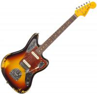 Guitare électrique solid body Fender Custom Shop 1962 Jaguar (#R89481) - Heavy relic, 3-color sunburst