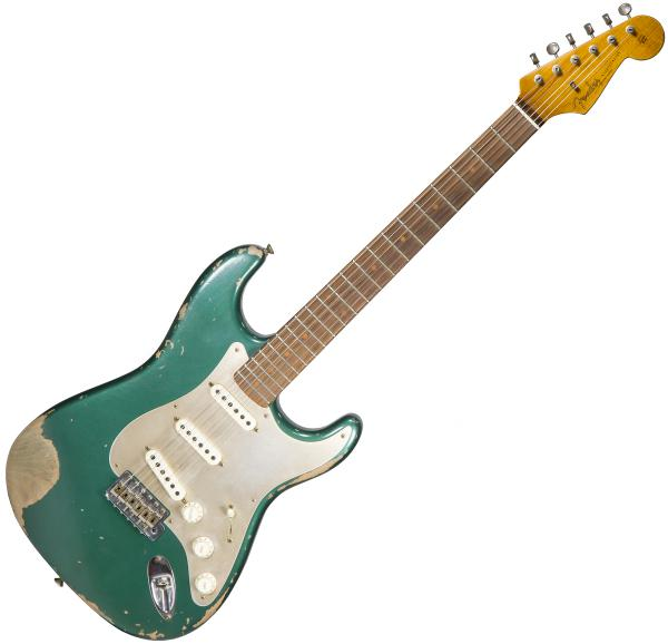Guitare électrique solid body Fender Custom Shop 1959 Roasted Stratocaster Ltd #CZ535029 - Heavy relic sherwood green metallic