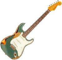 Guitare électrique solid body Fender Custom Shop Masterbuilt McMillin 1961 Stratocaster #R98915 - Heavy relic sherwood green over 3-color sunburst