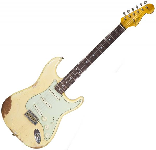 Guitare électrique solid body Fender Custom Shop 1965 Stratocaster Ltd #CZ538745 - Heavy relic nocaster blonde