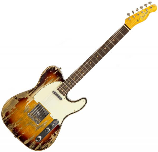 Guitare électrique solid body Fender Custom Shop 1963 Telecaster Ltd CZ541292 - Super heavy relic 3-color sunburst