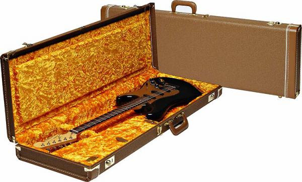 Etui guitare électrique Fender G&G Deluxe Hardshell Case Stratocaster/Telecaster - Brown/Gold