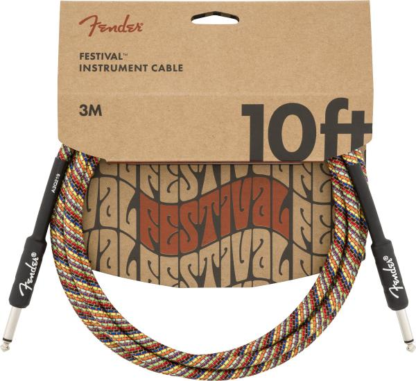 Câble Fender Festival Pure Hemp Instrument Cable, Straight/Straight, 10ft - Rainbow