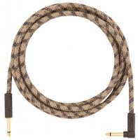Câble Fender Festival Pure Hemp Instrument Cable, Straight/Angle, 10ft - Brown Stripe