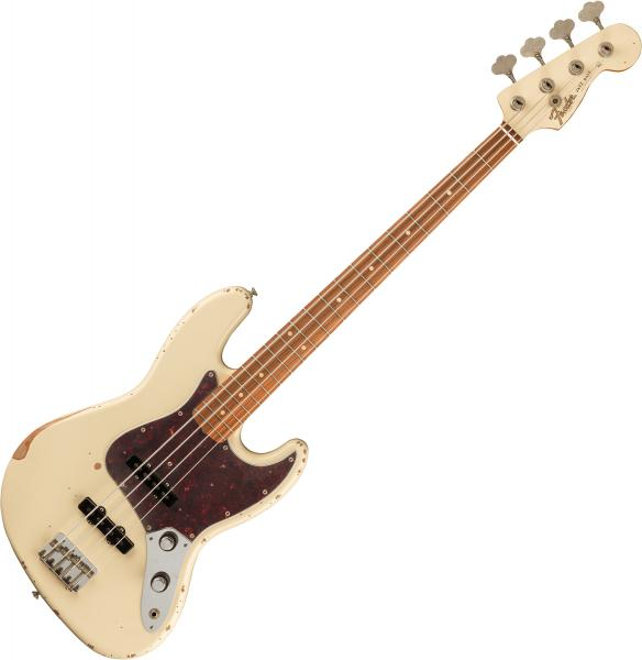 Basse électrique solid body Fender 60th Anniversary Roadworn '60s Jazz Bass (MEX, PF) - olympic white