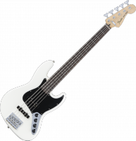 Basse électrique solid body Fender Deluxe Active Jazz Bass V (MEX, PF) - Olympic white