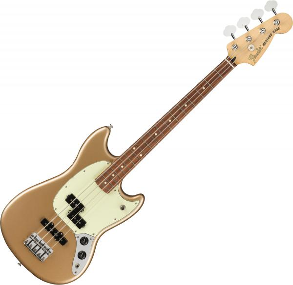 Basse électrique short scale Fender Player Mustang Bass PJ (MEX, PF) - Firemist gold