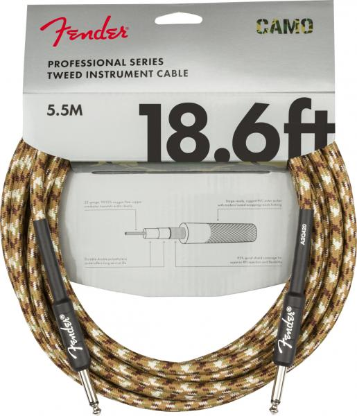 Câble Fender Professional Series Instrument Cable, Straight/Straight, 18.6ft - Desert Camo