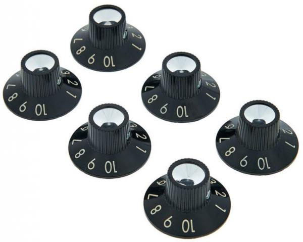 Bouton ampli Fender Pure Vintage Black-Silver Skirted Amplifier Knobs 6-Pack