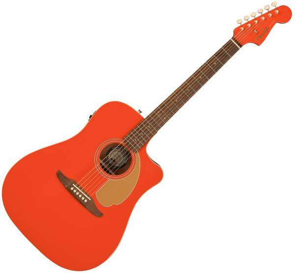 Guitare folk & electro Fender Redondo Player Ltd - Fiesta red