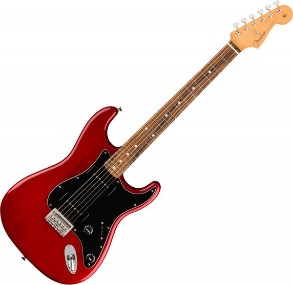 Guitare électrique solid body Fender Noventa Stratocaster (MEX, PF) - Crimson red transparent
