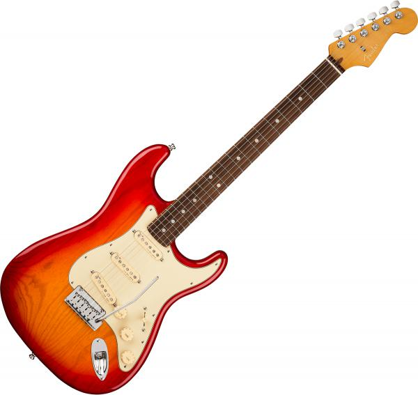 Guitare électrique solid body Fender American Ultra Stratocaster (USA, RW) - Plasma red burst