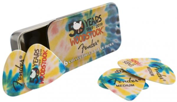 Médiator & onglet Fender Woodstock Pick Tin (6) - Tie Dye