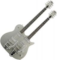 Guitare élec. double manches Gretsch G5566 Jet Double Neck Electromatic - Silver sparkle gloss