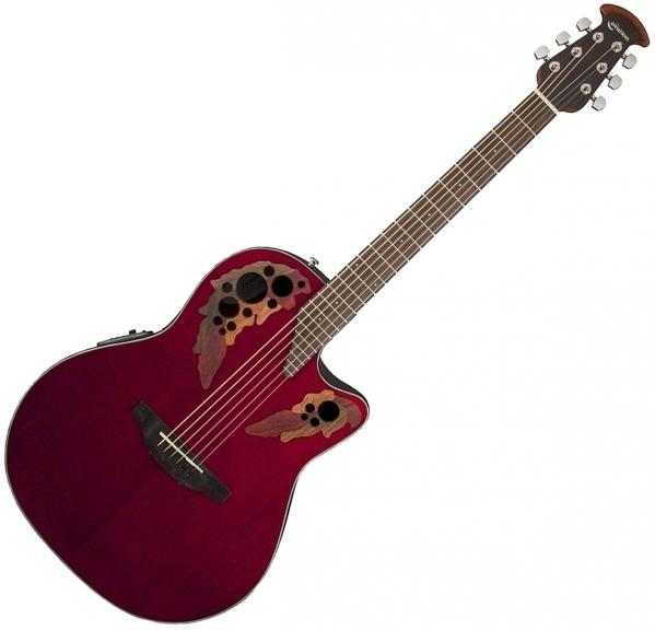 Guitare folk & electro Ovation CE44-RR Celebrity Elite - Ruby red gloss