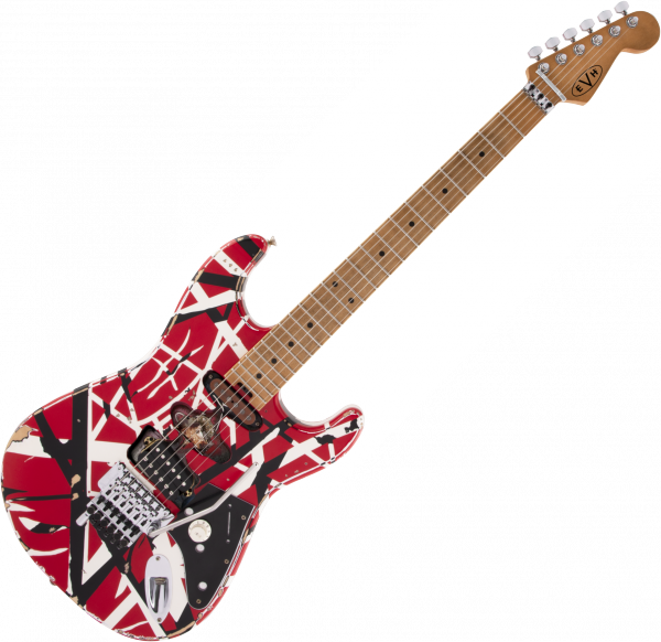 Guitare électrique solid body Evh                            FRANKIE STRIPED SERIES EDDIE VAN HALEN MN - Red with black & white stripes