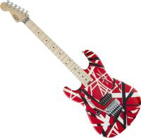 Guitare électrique solid body Evh                            Striped Series 5150 LH Gaucher - Red black white stripes