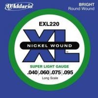 Cordes basse électrique D'addario EXL220 Nickel Wound Electric Bass 40-95 - Jeu de cordes