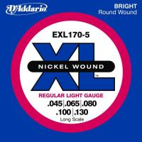 Cordes basse électrique D'addario EXL170-5 Nickel Wound Electric Bass 45-130 - Jeu de cordes