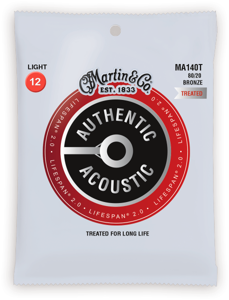 Cordes guitare folk  Martin Acoustic MA140T Bronze 80/20 Treated Light 12-54 - Jeu de 6 cordes