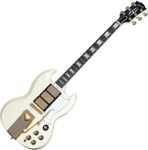 Guitare électrique solid body Gibson 60th Anniversary 1961 SG Les Paul Custom - Aged polaris white