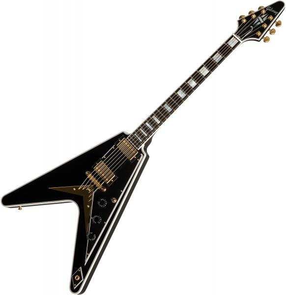 Guitare électrique solid body Gibson Custom Shop Flying V Custom 2019 - Ebony