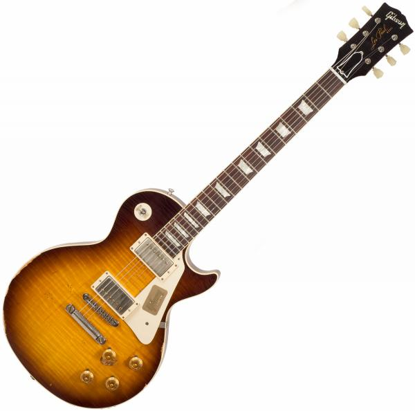 Guitare électrique solid body Gibson Custom Shop M2M 1958 Les Paul Standard #R862323 - Aged, kindred burst fade