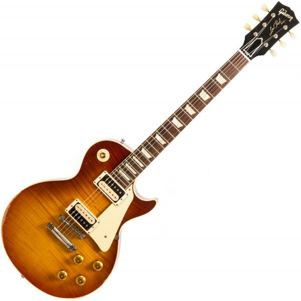 Guitare électrique solid body Gibson Custom Shop M2M 60th Anniversary 1959 Les Paul Standard #993514 - Aged sunrise tea burst