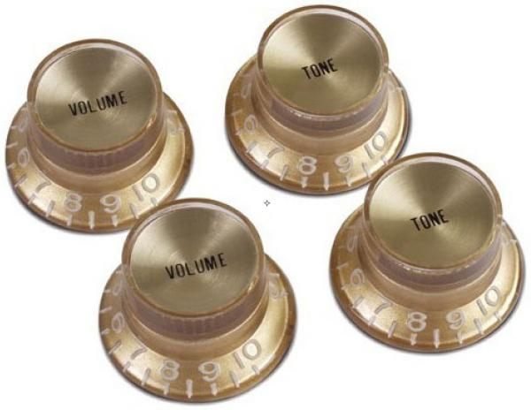 Bouton  Gibson Top Hat Knobs With Inserts 4-Pack - Gold w/ Gold Inserts