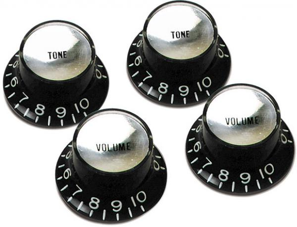 Bouton  Gibson Top Hat Knobs With Inserts 4-Pack - Black w/ Silver Inserts