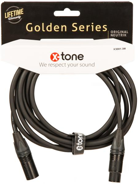 Câble X-tone X3001-3M - XLR(M) / XLR(F) Golden Series