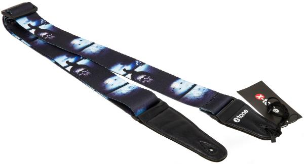 Sangle courroie X-tone XG 3104 Nylon Guitar Strap Skull With Crow - Black & Blue